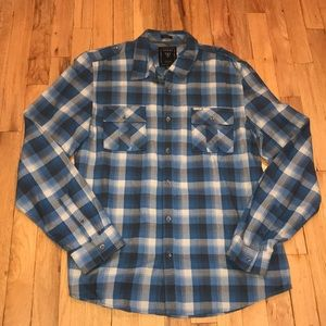 Guess men's l/s blue plaid button down shirt LG